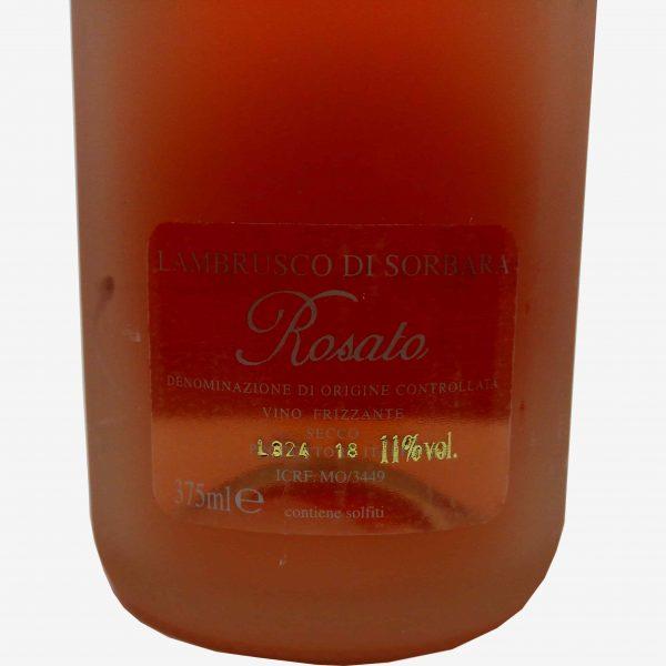 lambrusco di sorbara rosato Rosae Cantina Divinja Modena etichetta retro