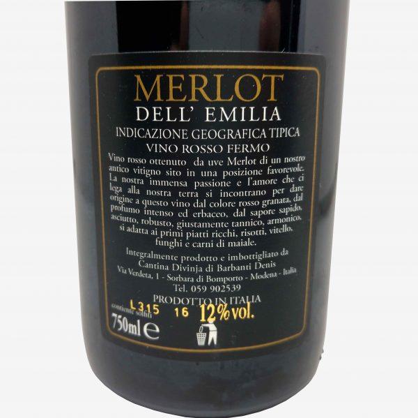 merlot cantina divinja modena bottiglia etichetta retro