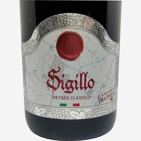 vino spumante brut metodo classico sigillo cantina divinja modena etichetta fronte