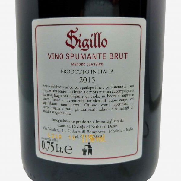 vino spumante brut metodo classico sigillo cantina divinja modena etichetta retro